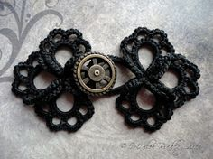 Tatted frog closure with steampunk wheel button by yarnplayer