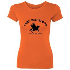 Camp Half-Blood Women's T-Shirt ($5.99) ❤ liked on Polyvore featuring tops, t-shirts, shirts, percy jackson, orange, women's clothing, cotton t shirt, orange t shirt, cotton shirts and low top