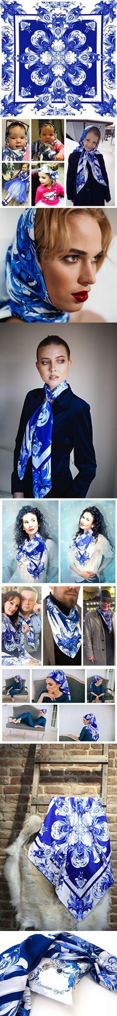 Chevron scarf Fashion Exclusive Designer Silk Scarf Shawl For Men & Women Premium Handmade Pashmina Gzhel Perfect As Bandana Headband Shawl Wrap Or Neckerchief Scarf