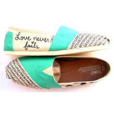 Custom toms for the bug day! In different colors of course!!  The Iris - Teal and Cream Custom TOMS ($119)