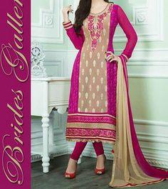 Bridal Galleria Punjabi Long Salwar Suit with Churidar Neck Gala Design India