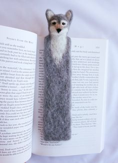 Needle Felted Bookmark Wolf Handmade OOAK Book Buddy