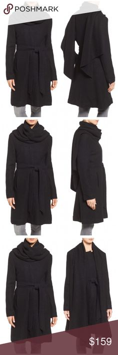"""Cole Hann Belted Wool Blend Coat with Scarf Black Cole Haan Walker Coat with Scarf $400 retail brand new with tag! Details: Artfully draped lapels add elegant insouciance to this woolly three-quarter-length coat that cinches shut with a soft sash belt. Wear with the scarf fronts draping freely, or wrapped around the neck and thrown over your shoulders for a bit of drama and cozy warmth.  - 38 1/2"""" length - Front snap closure - Draped front - Long sleeves - Front vertical welt pockets…"""