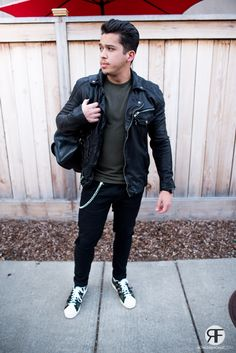 Men's Outfit Idea: Leather Jacket, Distressed Jeans and Camouflage Sneaker