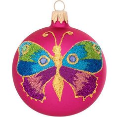 Fuchsia Ball With Butterfly Glass Ornament