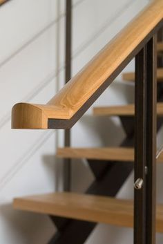 Metal Is Good: Custom Metal Fabrication Metal Stair Railing, Modern Railing, Wood Handrail, Staircase Handrail, Modern Stairs, Hand Railing, Bannister, Staircases, Railing Design