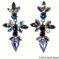 Schoffel Austria Purple & Blue Rhinestone Dangle Earrings