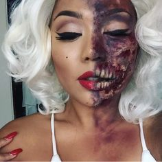 Explore our collection of zombie makeup looks. You will definitely find your best bet for Halloween and terrify everyone around you. Zombie Makeup, Scary Makeup, Sfx Makeup, Prom Makeup, Halloween Makeup Looks, Halloween Kostüm, Halloween Costumes, Cosplay Makeup, Costume Makeup