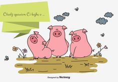 Three Little Pigs Vector Illustration. Choose from thousands of free vectors, clip art designs, icons, and illustrations created by artists worldwide! Vector Design, Vector Art, Design Templates, Doodle, Three Little Pigs, Clipart, Art Images, Signage, Third