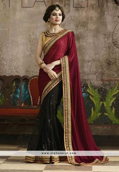 Outstanding Black And Maroon Color Lycra And Net Fabric Party Wear Saree