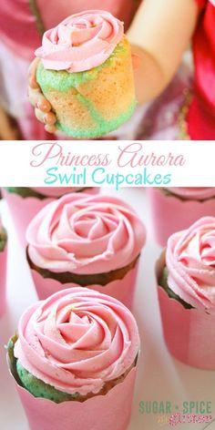 """Princess Aurora Swirl Cupcakes - the perfect princess birthday party cupcake, these """"Briar Rose cupcakes"""" have a pink and… Swirl Cupcakes, Swirl Cake, Fun Cupcakes, Cupcake Party, Wedding Cupcakes, Princess Aurora Party, Princess Birthday, 5th Birthday, Princess Theme"""