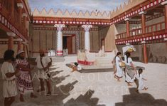 Hazor Temple-Palace Late Bronze Age, around 1200 BC Biblical Illustrations by Balage Balogh Ancient Near East, Ancient Art, Ancient Egypt, Ancient History, Greek History, Jewish History, Bible Images, Phoenician, Archaeological Discoveries