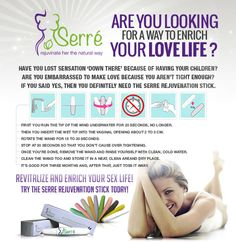 Enrich your love life. Tighten your vagina for more pleasure with the serre stick. Love Life, Herbalism, Muscle, Female, Health, Green Houses, Herbal Medicine, Muscles