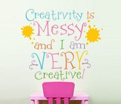 """Cute wall decal for the craft room I think.  :) Vinyl Wall Decal Quote Wall Art, Kids Bedroom, Kids Playroom, Kids Art Room, Rainbow Colors, Girls Bedroom  - 20""""H x 17 1/2"""" W - A9. $36.00, via Etsy."""