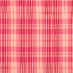Pink Salmon Plaid Lightweight Cotton Voile Fabric by the Yard   Mood Fabrics