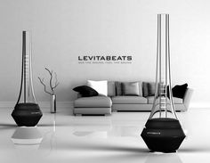 Levitabeats Loudspeaker. As the music plays, you can actually see how it's played visually based on the bouncing luminous floating disk up and down reflecting the beats and rhythm of the music. It would be pretty cool to watch.  Designer : Jongha Lee
