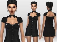 A mini black steampunk dress. Found in TSR Category 'Sims 4 Female Everyday' The Sims, Sims Cc, Steampunk Dress, Sims 4 Custom Content, Little Dresses, Character Inspiration, Cool Style, Military, Female