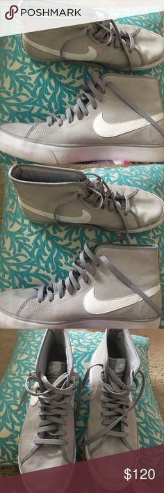 Nike high tops Grey swede Nike high tops, size ten, excellent condition, no scuffs. Swede in perfect condition. Nike Shoes Sneakers