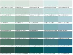 Best Shades: to the left of Mamas bouyant blue Sherwin Williams Green Trance Breaktime Aloe Spearmint Grandview Kendal Green Hunt Club Dewy Waterscape Hazel Composed Surf Green Raging Sea Country Squire Glimmer Tidewater Watery Teal Paint Colors, Interior Paint Colors, Paint Colors For Home, Room Colors, House Colors, Coastal Paint Colors, Interior Design, Sherwin Williams Duration, Bedroom Decor
