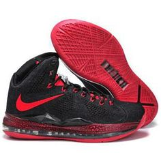 asneakers4u.com Nike Lebron 10 2013 Hardcover Carving Black Red Running Shoes