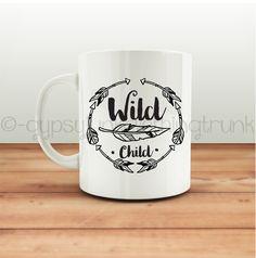 ON SALE Wild Child Hippie Mug - Wild Child Mug - Arrow Print Mug - Feather Print Mug - Coffee Mug - Coffee Cup - Feather Print Cup - Father'