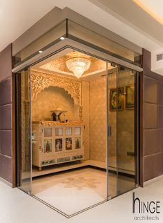 Interior modern living room by hinge architects modern Mandir Design, Pooja Room Door Design, Home Room Design, Home Interior Design, Interior Modern, Living Room Interior, Interior Paint, Living Room Designs, Living Room Partition Design