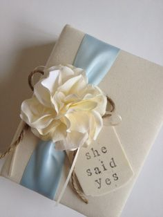 "Engagement Photo Album, Ivory Hydrangeas, Blue Ribbon, Hand-stamped ""She Said Yes"" - by CoutureLife, $38.99"