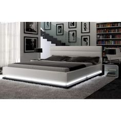 Infinity - Contemporary White Platform Bed with Lights  I love this modern contemporary bed