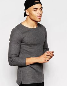 ASOS   ASOS Waffle Jersey Muscle Long Sleeve T-Shirt With Boat Neck at ASOS Boat Neck, Waffle, Fashion Online, Asos, Men Sweater, Muscle, Mens Fashion, Long Sleeve, Sleeves