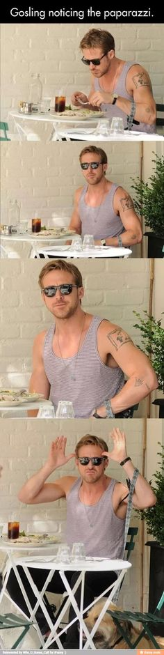 Ryan Gosling seeing paparazzi. (This is exactly how I react to having my picture taken!!)