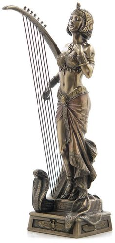 Cleopatra With Egyptian Harp Fantasy Art Sculpture Statue Figurine available at AllSculptures.com