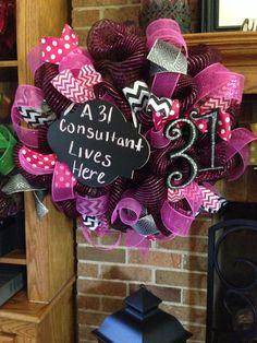 Thirty-one deco mesh chalkboard wreath on Etsy, $60.00