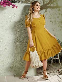 Plus Button Front Flippy Hem Bustier Dress – kidenhome Bustier Dress, Maxi Dress With Slit, Mesh Dress, Formal Dresses For Women, Dresses For Sale, Casual Dresses, Fashion Dresses, Occasion Maxi Dresses, Pageant Dresses