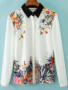 White Contrast Collar Floral Chiffon Blouse US$21.87
