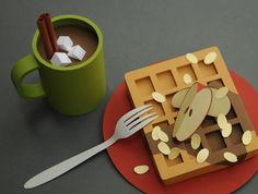 kitchen art - pop up food art! 3d Paper Art, Paper Artwork, Paper Artist, Diy Paper, Paper Drawing, Food Sculpture, Cardboard Sculpture, Paper Sculptures, Origami And Kirigami