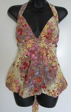 Plenty by Tracy Reese Halter Floral Top Anthropologie Silk Cleavage Babydoll 6 | eBay $14.99