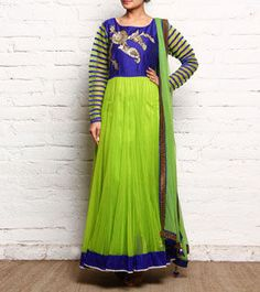 Blue & Green Sequined Georgette Anarkali Kurta With Lace