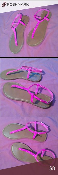 Wet Seal Sandals Pink, Braided Strap, Wet Seal Sandals Wet Seal Shoes Sandals