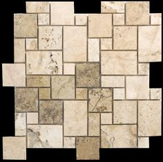 For the shower floor and border and vanity backsplash! It'll tie in lovely with the grays and creams in the granite, and pop against the other beige travertine! Philadelphia Travertine Random Sized Mosaic Mini Pattern Filled and Honed Tile in Beige and Gray   Wayfair