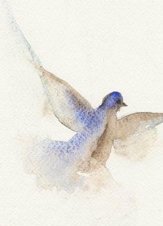 Flying dove, Original watercolor painting, bird art, pigeon, animal art