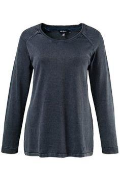 Mooie pullover in grote maten, beetje denim effect, leuk!