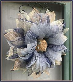 Pattern for Nautical Flower Wreath by A Noble Touch Ocean | Etsy Burlap Flower Wreaths, Sunflower Wreaths, Deco Mesh Wreaths, Door Wreaths, Sunflower Crafts, Burlap Crafts, Wreath Crafts, Nautical Wreath, Monogram Wreath