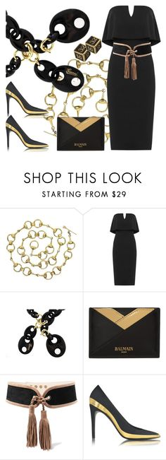 """""""Dress to kill"""" by ellenfischerbeauty ❤ liked on Polyvore featuring Gucci, WearAll, Balmain, Fabergé, balmain, gucci, HowToWear and waystowear"""