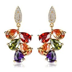 Find More Drop Earrings Information about Pendientes Jewelry 14K Real Gold Plated Gold Earrings with Multicolor AAA Zircon Stone Nickel, Cadmium free earring for women,High Quality earrings ads,China earrings butterflies Suppliers, Cheap earring part from Dux Ornaments(diy earrings cartilage earring) on Aliexpress.com