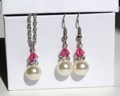 Bridesmaid jewelry set pearl necklace and by asteriasbridal, $13.00