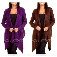 Drape front sweater cardigan long sleeves New ‼️COMMENT ON COLOR AND SIZE NEEDED.‼️ Gorgeous knit sweater cardigan. Have trendy open front,drape collar.metallic knit style.long sleeves.Asymmetric HEM. Please ask for COLOR AND SIZE availability. boutique Sweaters Cardigans