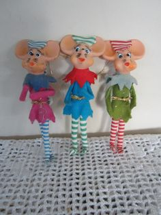 Vintage Mouse Christmas Ornaments Set of 3 Japan Elf by myfancies