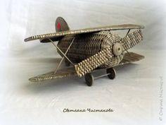 Макет модель Поделка изделие День Победы Плетение Самолет Бумага газетная фото 1
