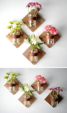 DIY Rustic Mason Jar Sconce - Add some flowers by making a DIY sconce with mason jars. Mason Jar Sconce, Mason Jar Lanterns, Hanging Mason Jars, Jar Lamp, Diy Hanging, Diy Wand, Easy Diy Crafts, Jar Crafts, Decor Crafts