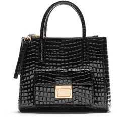 Large black tote bag (1375860 PYG) ❤ liked on Polyvore featuring bags, handbags, tote bags, crocodile leather handbags, zippered tote bag, zip tote, zipper purse and zipper handbags